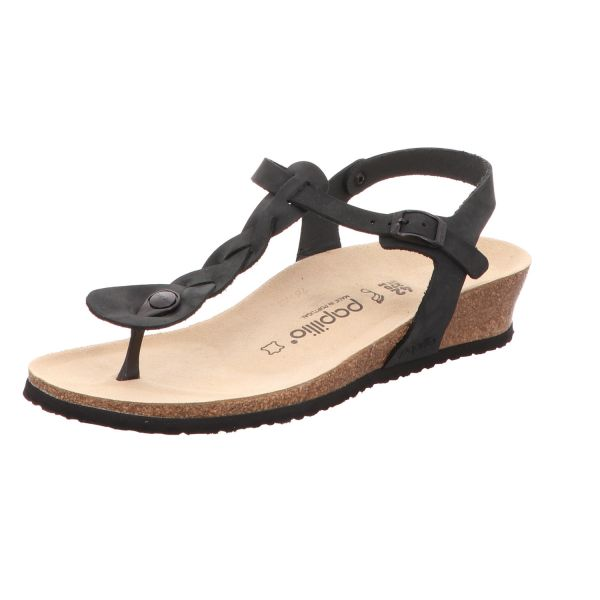 Papillio Damen-Fettleder-Sandalette City Ashley Braided Schwarz